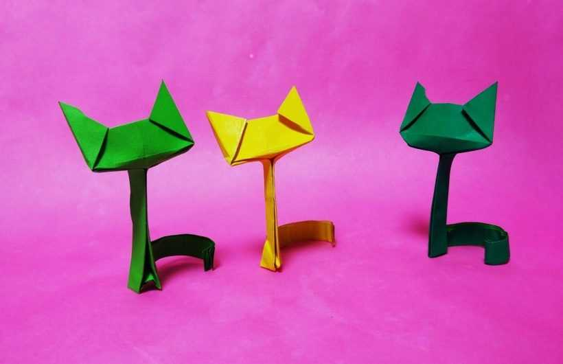 Кошка оригами — 165 фото и видео описание как собрать бумажную кошку из цветной и однотонной бумаги